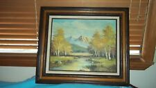 FOREST - RIVER MOUNTAIN SCENE OIL PAINTING