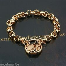 18K Yellow Gold Filled Filigree Heart Padlock Belcher Bracelet (B-250)