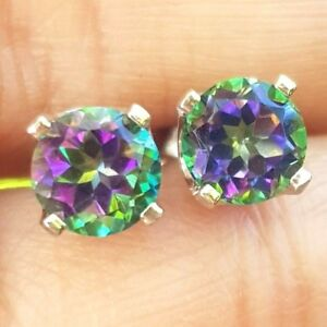 3.01ct Natural Green Mystic Topaz 14K Solid White Gold Stud Earrings push back