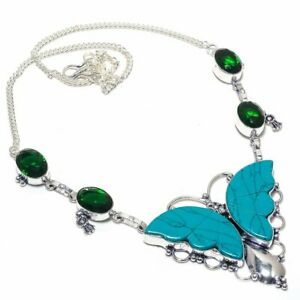 """Butter Fly- Santa Rosa Turquoise Gemstone Handmade Jewelry Necklace 18"""" ZN-1541"""