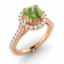 Certified 1.53 Ct Peridot & G/SI Diamond In Solid 10k Rose Gold Engagement Ring