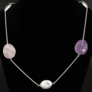 "Sterling Silver - ALUMA Faceted Amethyst & Rose Quartz 36"" Chain Necklace - 44g"