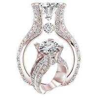 Fashion Rose Gold Women White Sapphire Crystal Wedding Enagement Jewelry Rings