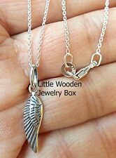Tiny Angel Wing 925 Sterling Silver Memorial Faith Charm Necklace Womens Girls