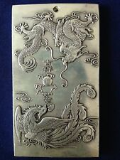 Chinese tibet Silver dragon phoenix carving amulet
