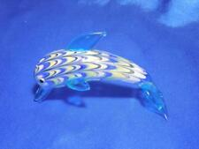 Fitz & Floyd Dolphin Porpoise Glass Menagerie Fish Figurine Art Glass Blue