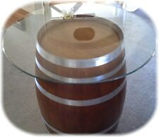 Decorative Oak Wine Barrel Table With Glasstop - FREE SHIPPING