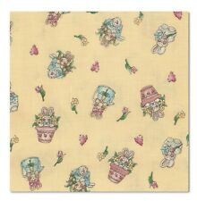 2 Yards Quilt Cotton Fabric Easter Parade Garden Bunnies Tossed on Yellow