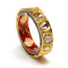 18K Yellow Gold Rose Cut Diamond Enamel Design Band Ring Indian Ethnic Jewelry