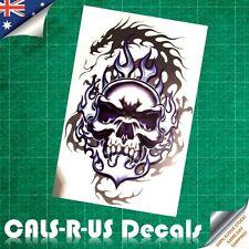 BIG Monster Raging SKULL Dragon Blue Fire Fantasy Vinyl Car Decal Sticker