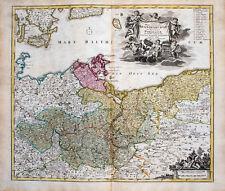 c1730 Brandenburg Pommern Polen Kolorierte Kupferstich-Landkarte Homann