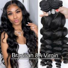 4BUNDLES=400G Loose Deep Wave Brazilian Peruvian Virgin Human Hair Weave Weft US