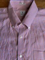 Peter Millar Men's check plaid L/S shirt XL button down Purple Orange B2