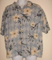 Men's Paradise Blue Size XL Silk Floral Hawaiian Shirt