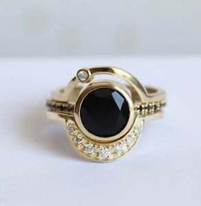 3Ct Round Cut Black Onyx Simulated Diamond Ring Set Ring Yellow Gold Fnsh Silver