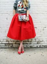 """WOMENS DEEP RED MIDI SKIRT FASHION BLOGGER STYLE CHIC CLASSY SEXY NEW 24-26"""""""
