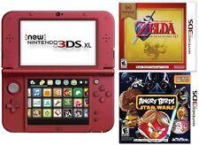 New Nintendo 3DS XL Red Bundle Zelda Ocarina Angry Birds Star Wars 2 Free Games