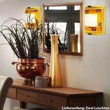 2er Set LED Wand Leuchten Wohn Raum Energiespar Beleuchtung Glas Lampen gelb
