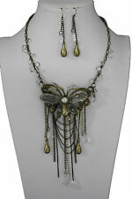 Women Gold Long Necklace Metal Big Butterfly Clear Beads Fashion Jewelry Earring