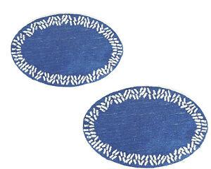 Anthropologie Set of 2 Blue White Bath Mats Rugs Kitchen Shaggy Oval Round Big