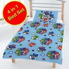 PJ MASKS BADGES JUNIOR TODDLER BEDDING BUNDLE - DUVET COVERS, QUILT, PILLOW