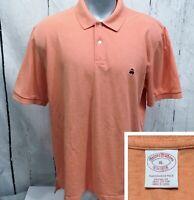 BROOKS BROTHERS XL Short Sleeve Polo Style Original Fit Shirt Lt. Orange Heather