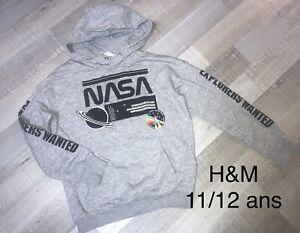 H&M 11/12 Ans Garçon : Sweat Shirt Gris NASA TBE