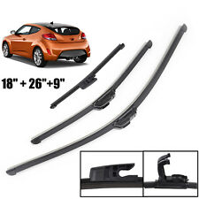 Windshield Wiper Blade Set Front Rear Window Fit For Hyundai Veloster 2012-2017