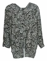NYDJ Women's Top Sz XL Pullover 3/4 Sleeve Perfect Blouse Black A376444