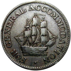 For General Accommodation Canada Half Penny Token Sailing Ship Breton 966