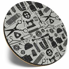 Round Single Coaster  - BW - Cute Sewing Dressmaker Tools  #35162