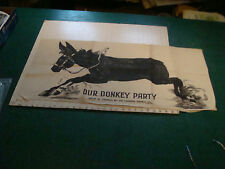 original CLOTH - Our Donkey Party canada games co. folded, no tails, 34 x 17 1/2