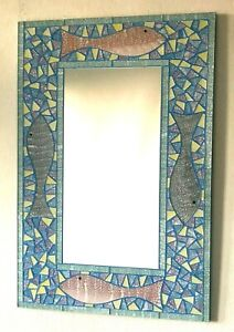 Mosaic Mirror Handmade In Bali. Stunning Fish Design In Pastel Colours 60 x 40cm