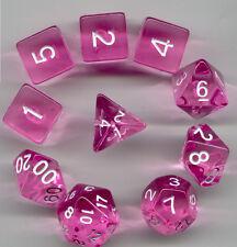 RPG Dice 10pc - Translucent Pink- 1 @ D4 D8 D10 D12 D20 D00-10 & 4 D6