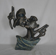 Erotic Bust of Female Kissing her Lover Bronze Sculpture Art Deco Statue Sale