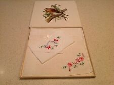 BNIB From Old Stock Ladies Vintage Handkerchiefs Embroidered Floral Flowers 2pcs