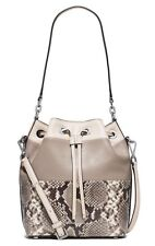 Michael Kors Dottie Python Embossed Leather Large Drawstring Bucket Bag Natural