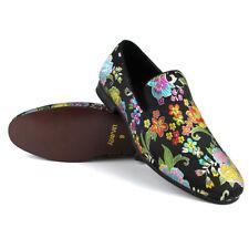 6e7809119e2 Mens Slip On Black Multi Color Floral Print Design Dress Shoes Loafer  AZARMAN