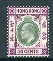 China 1904 Hong Kong 50¢ KEVII Ordinary Paper Wmk MCCA Scott #101 Mint Z502