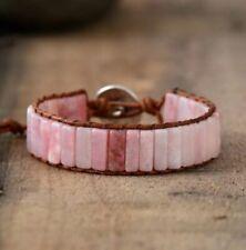 Crystal Bead Friendship Bracelet Square Tube Rose Quartz Chakra Leather Pink