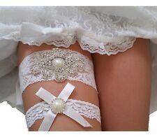Rhinestone Wedding Garter Set w/ Pearl Bow White Lace Bridal Prom Two Garters R1