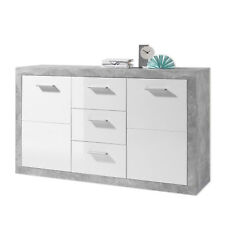 GREYSTONE GREY & WHITE GLOSS SIDEBOARD DRESSER CHEST FOR LOUNGE OR BEDROOM 147cm