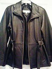 Black leather belted  jacket coat Valerie stevens Brand S small petite free ship