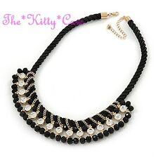 Jet Black Braided Silk Choker 14K Gold Pl Catwalk Necklace w/ Swarovski Crystals