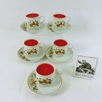 Avon Teacup Candle 22K Gold Trim Strawberry Theme 1978 Set of 5