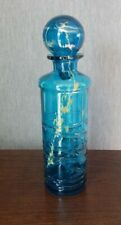 Vintage Mdina Glass Blue Trailed Bottle with Stopper - 29cm Tall