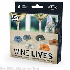 Wine Lives Kitty Wine Markers Set of 6 By Fred - Cocktail Drink Party Cat Kitten