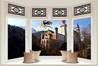 Huge 3D Bay Window Fantasy Dragon Castle View Wall Stickers Wallpaper Mural 693