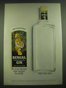 1968 Bengal Gin Ad - If you think our label is wild try our gin
