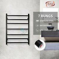 Electric Heated Towel Rail Rack Warmer Stainless Steel 7 bar Shelf Round Black